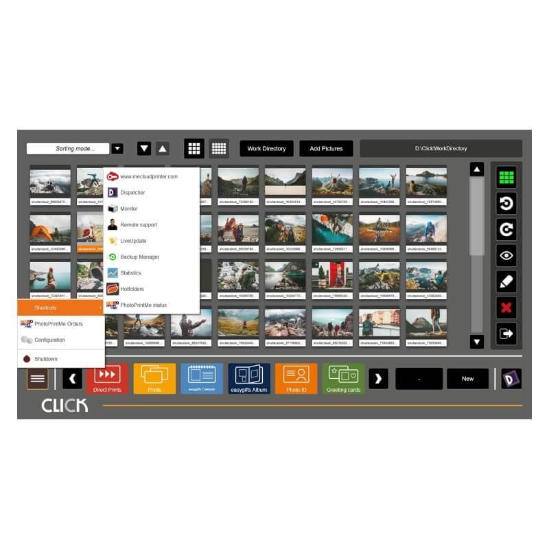 CLICK Sistema di gestione fotografica professionale menu